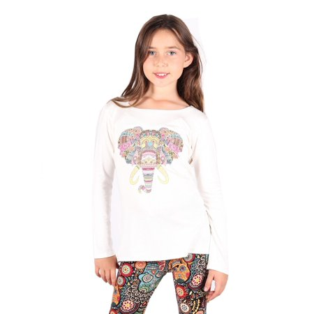 Lori & Jane Girls Ivory Elephant Print Long Sleeve Hi-Low Tunic