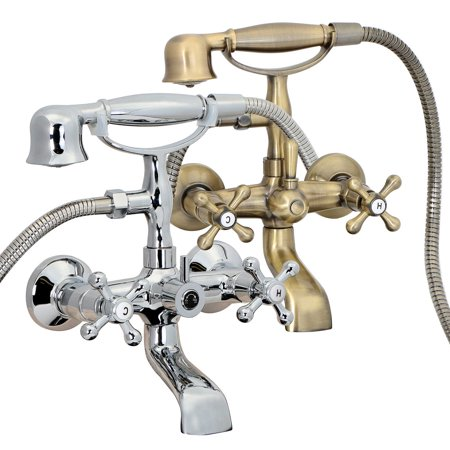 (FREUER Vasca Collection: Classic Clawfoot Tub Faucet - Wall Mount, Polished Chrome)