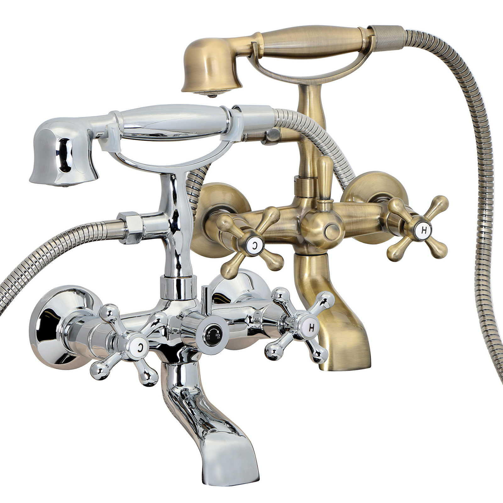 FREUER Vasca Collection: Classic Clawfoot Tub Faucet - Wall Mount, Polished Chrome