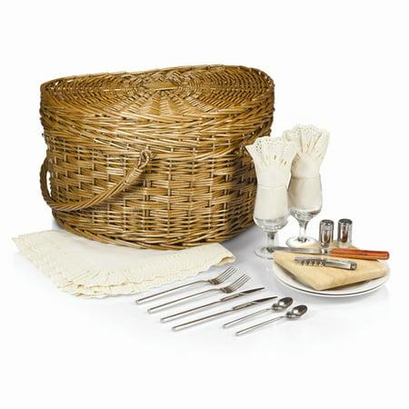 Wedding Picnic Basket - Willow Wedding Heart Picnic Basket w/Ivory Lining