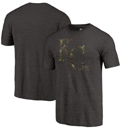 Kansas City Royals Fanatics Branded 2019 Armed Forces Camo Prestige Tri-Blend T-Shirt - Heather Black