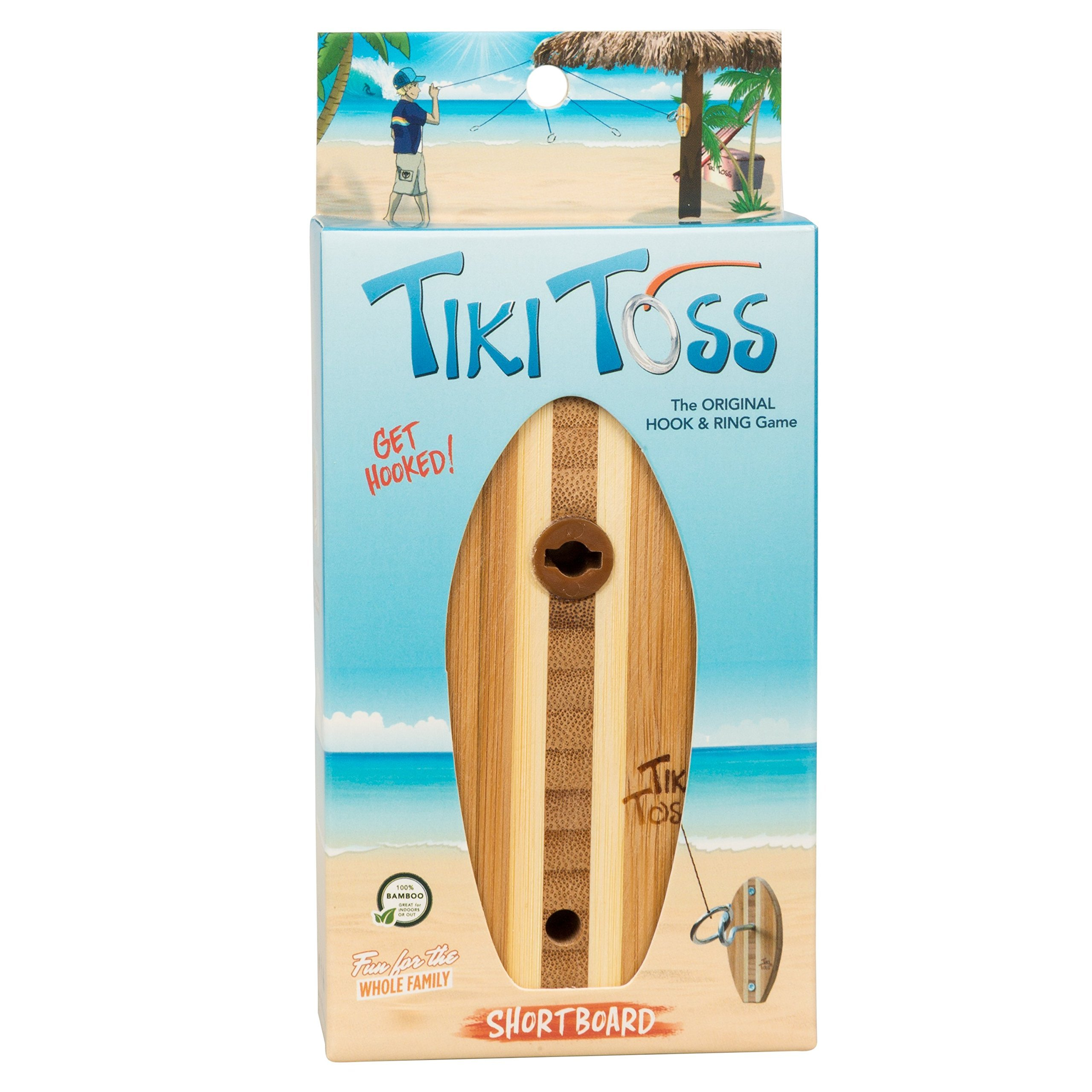 Tiki Toss Shortboard Hook and Ring Toss Game Short Board Edition Indoor Outdoor