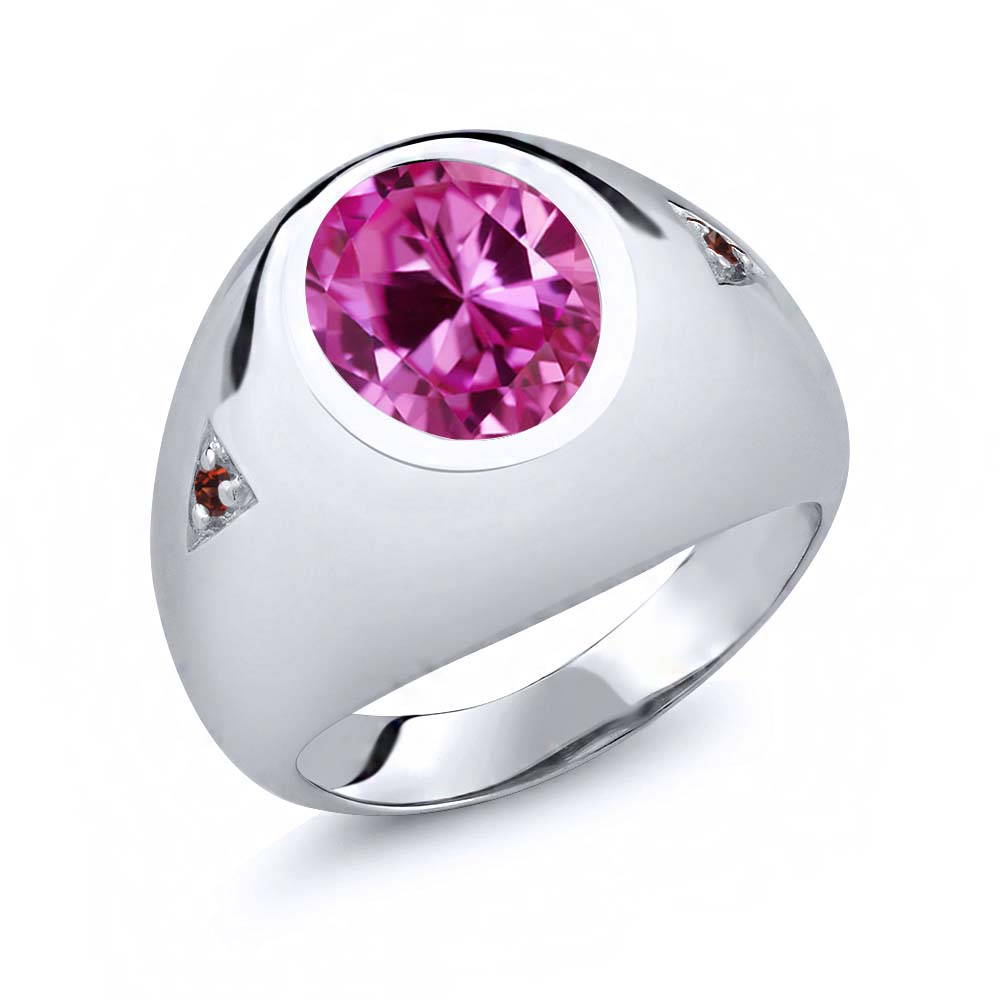 6.08 Ct Oval Pink Created Sapphire Red Garnet 14K White Gold Men's Ring by