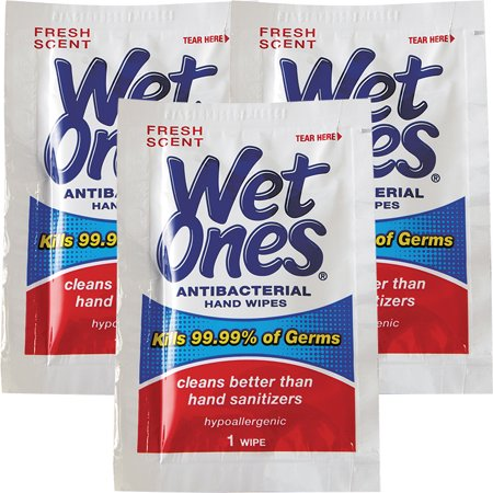 Body Electrical Wiper - (3 Pack) Wet Ones Antibacterial Hand Wipes Fresh Scent Individually Wrapped Single - 24 Count