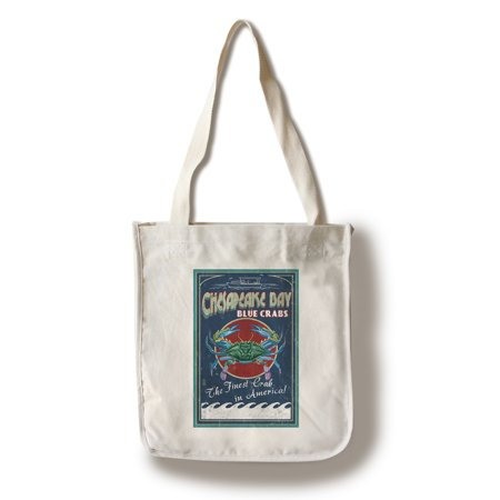 Chesapeake Bay, Virginia - Blue Crab Vintage Sign - Lantern Press Artwork (100% Cotton Tote Bag - Reusable)