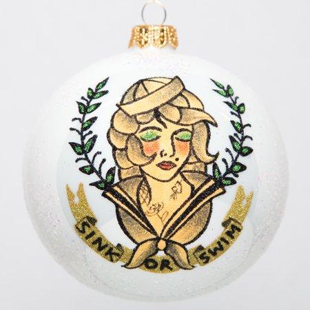 Sailor Girl Sink or Swim Pin Up Tattoo Ball Polish Glass Christmas Tree
