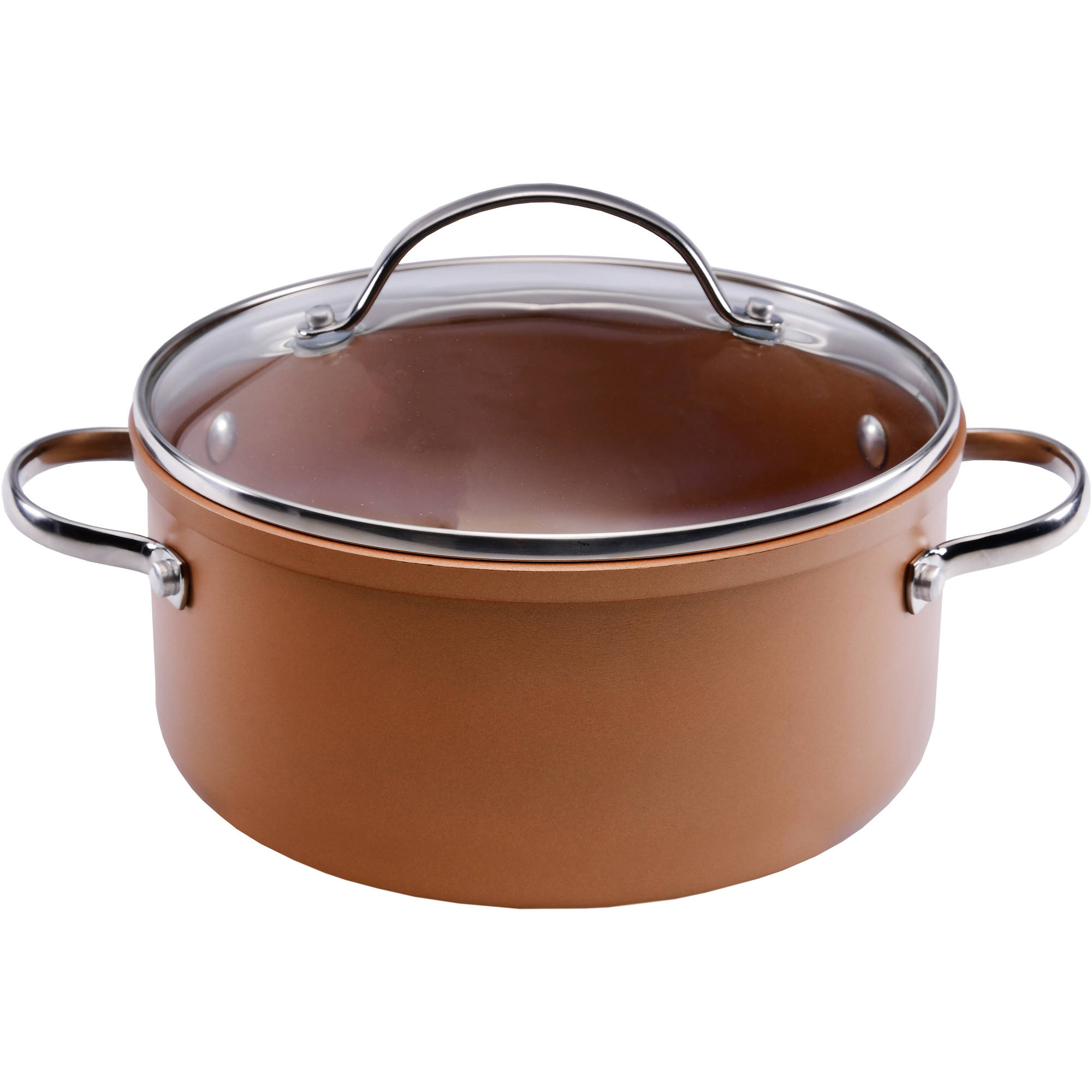 Farberware Colortech Aluminum Nonstick Covered Saucepot, 4-Quart, Copper