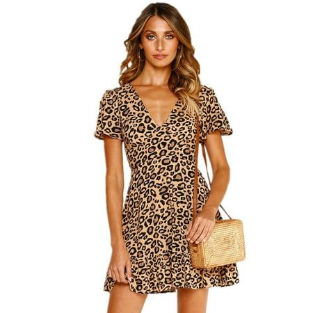 Womens Casual Leopard Print Falbala Dress Short sleeve V-neck High Waist Asymmetrical Hem Mini -