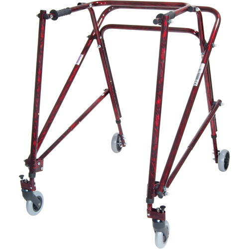 Drive Medical Nimbo Rehab Lightweight Posterior Posture Walker, Adult, Flame Red