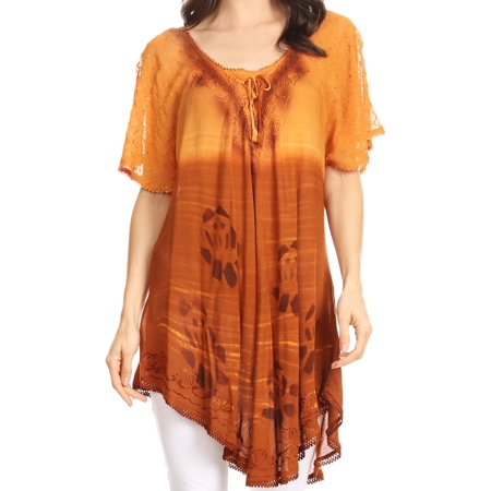 Sakkas Reya Lace Embroidered Cap Sleeve Corset Tie Dye Blouse Top Shirt - Brown - One Size - Cmp Sleeve