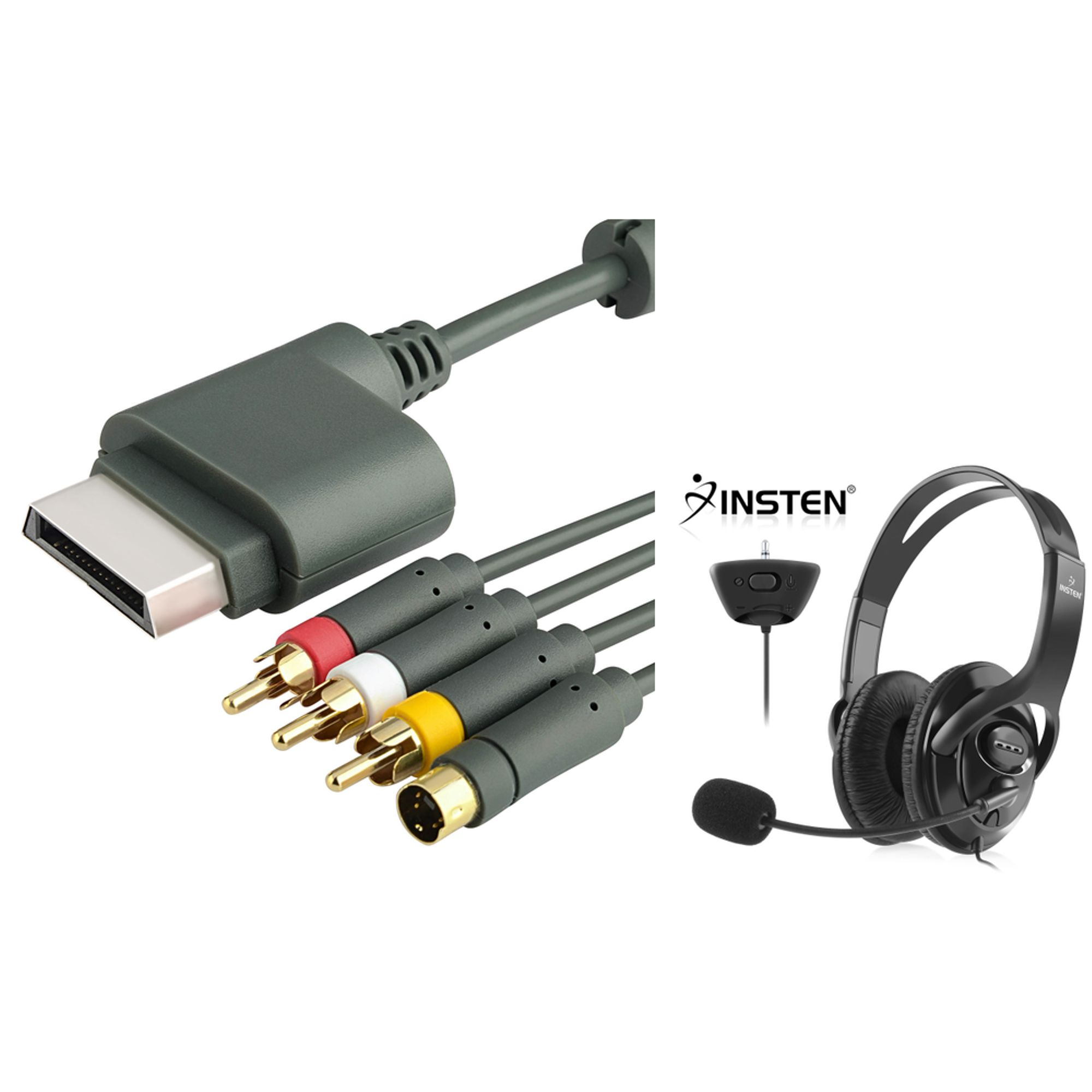 Xbox 360 Headset with Mic by Insten For Xbox 360 / Xbox 360 Slim - Black Gaming Headset with Noise Canceling Mic Microphone + S-Video AV Cable