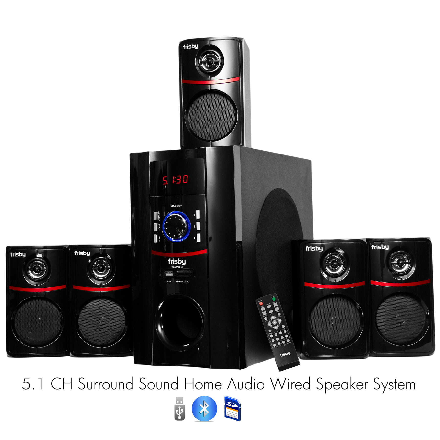 Frisby FS-5010BT 5.1 Surround Sound Home Theater Speakers System with Bluetooth USB SD & Remote by Frisby