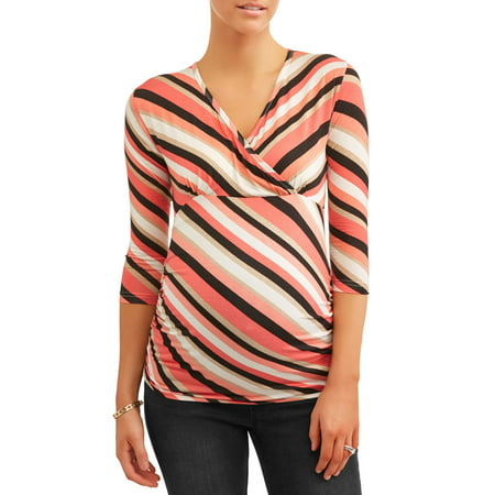 - Oh! MammaMaternity surplice stripe knit top - available in plus sizes
