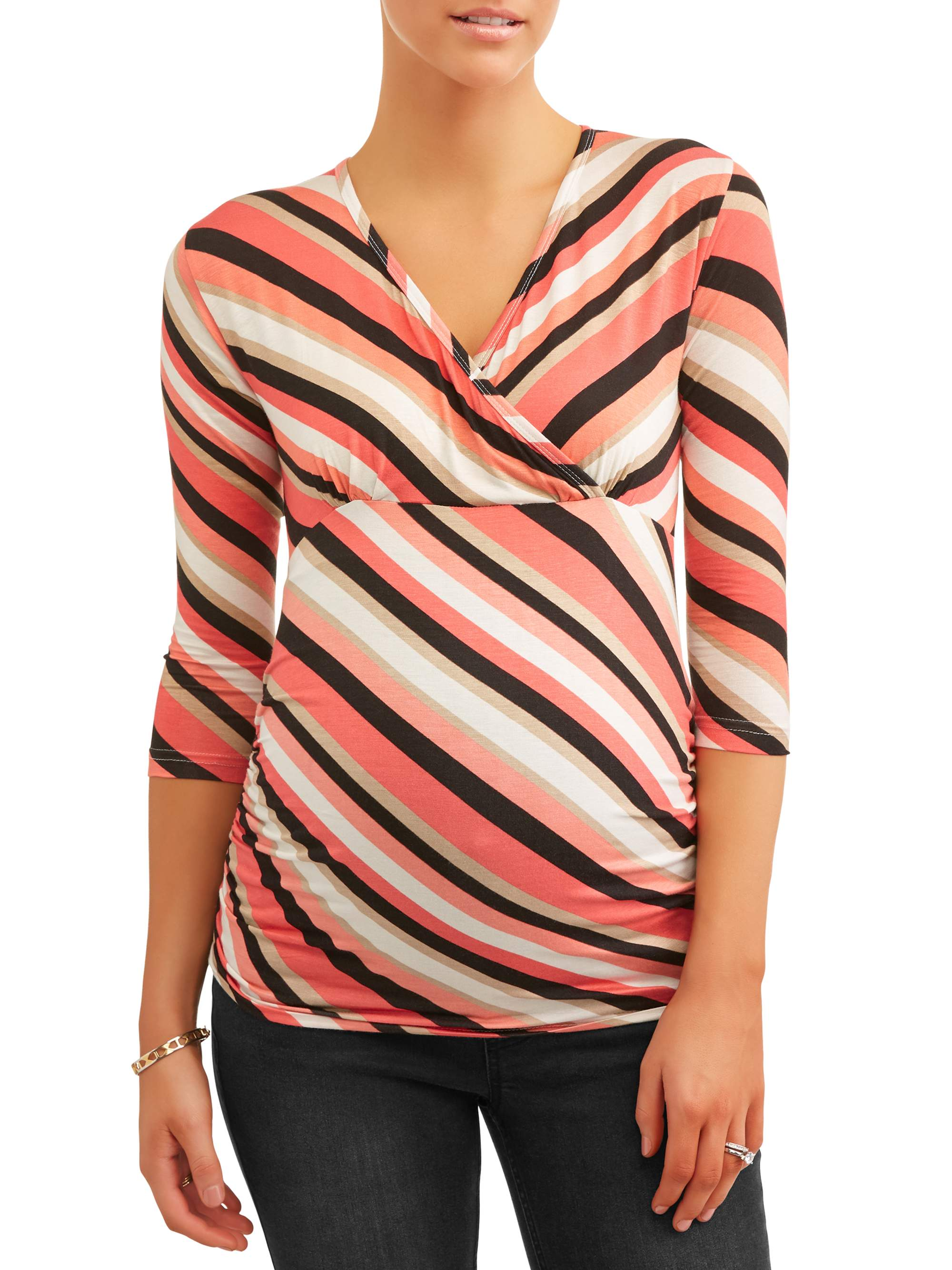 Maternity Surplice Stripe Knit Top - Available in Plus Sizes