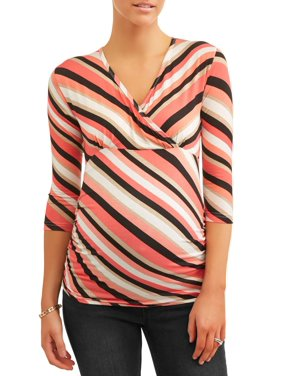 36b064b9c0a Product Image Maternity Surplice Stripe Knit Top - Available in Plus Sizes