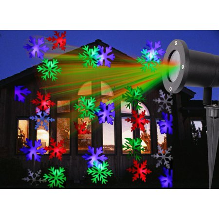 kshioe led christmas projector lights snow pattern waterproof lawn garden patio spot light for xmas party wedding indoor and outdoor decoration walmart - Led Christmas Projector