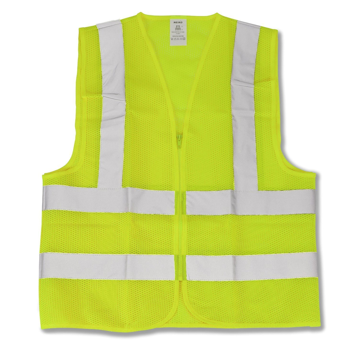 Neiko 53941A Neon Yellow ANSI Approved Safety Vest Large
