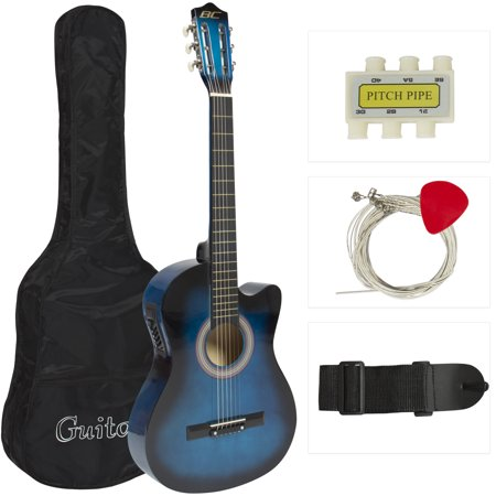 Best Choice Products 38in Beginners Acoustic Electric Cutaway Guitar Set w/ Case, Extra Strings, Strap, Tuner, Pick - Blue ()