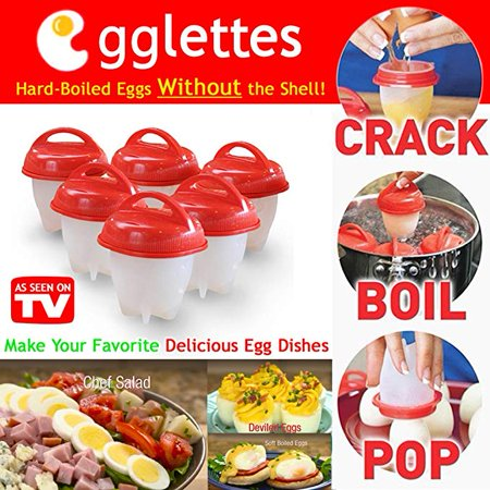 6 PKS 2018 LIGHTSMAX Egg Cookers & Soft Maker,Letsfunny Bpa Free,Non Stick Silicone, Poacher,Boiled,Steam Steamer without the Shell