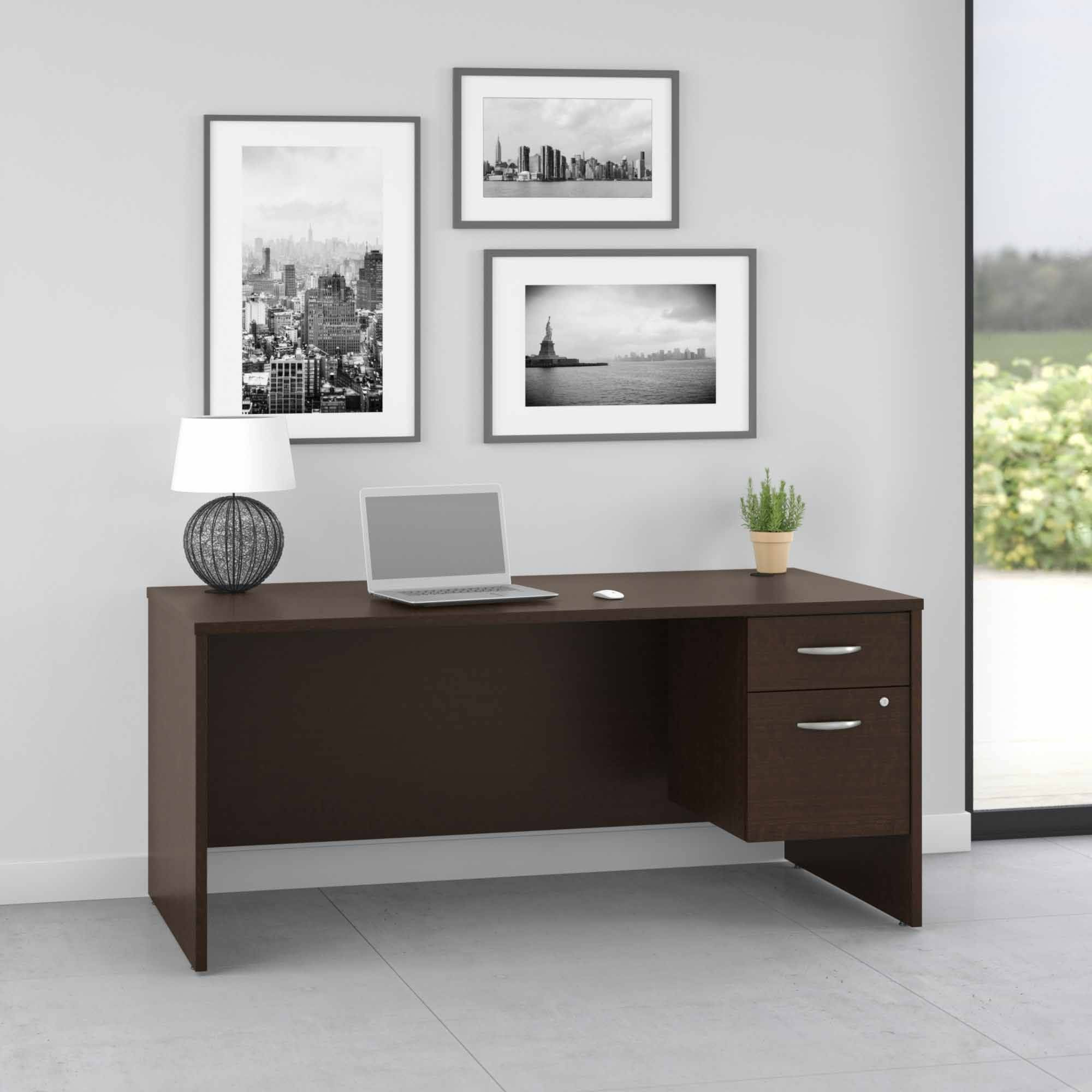 Pro Office 66W Computer Desk with 3/4 Pedestal in Mocha Cherry
