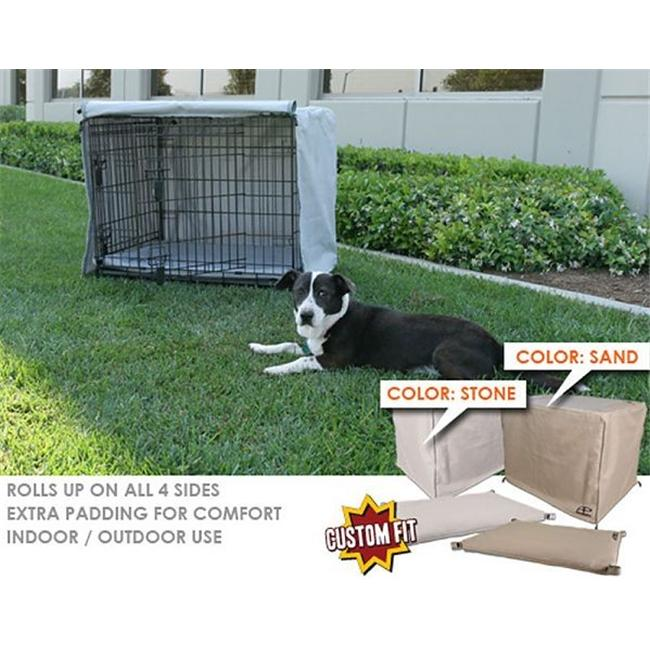 Animated Pet SG-046-16 Crate Cover & Pad Set Fits 36 x 23 x 25 Midwest iCrateTM 2 Door 1500DD crates- Stone-Grey Color