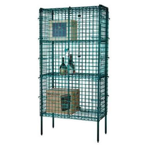FocusFoodService FSSEC2436GN 24 inch W x 36 inch L x 63 inch H Epoxy Stationary Security Cage - Green