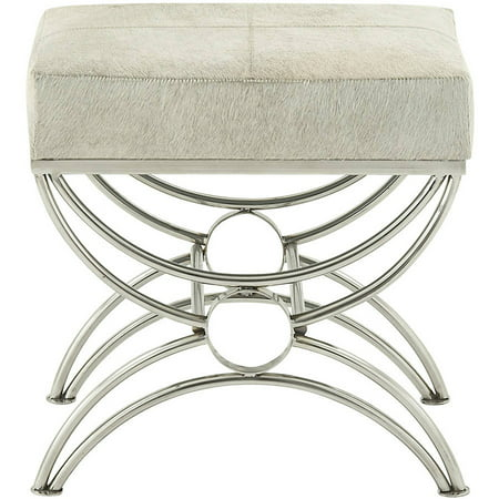 Decmode Stainless Steel Leather Hide Stool, Multi Color