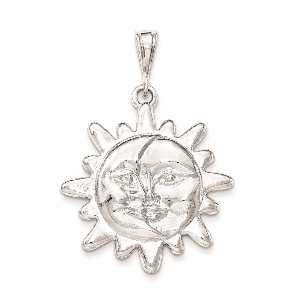 925 Sterling Silver Polished Sun & Half Moon Face Open-back Charm Pendant