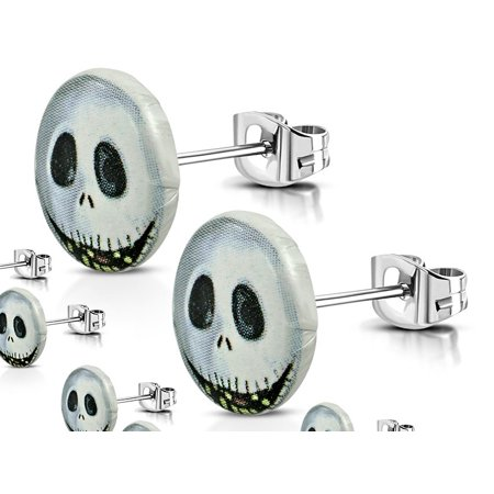10mm Stainless Steel 2 tone Jack Skellington Halloween Circle Stud Earrings Pair - Halloween Earrings