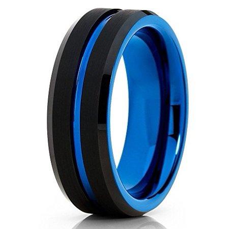 8mm Blue Tungsten Ring Tungsten Wedding Band Black Tungsten Ring Engagement Tungsten Carbide Men Women Comfort Fit