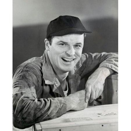 Stretched Canvas Art - Portrait of a manual worker smiling, 1950 - Large 24 x 36 inch Wall Art Decor Size.