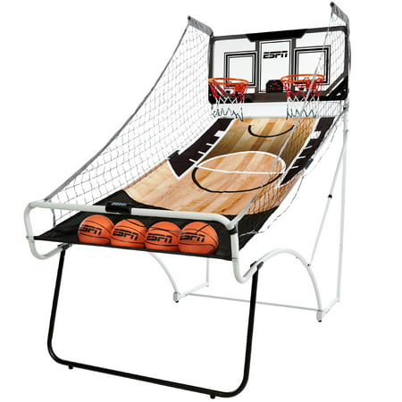 ESPN EZ-FOLD 2-Player Arcade Basketball Game with Authentic PC Backboard and LED Scoring, 4 rubber basketballs, 1 air pump and - Spirit Ideas For Basketball Games