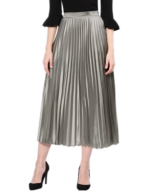 Women's High Waist Accordion Pleated Metallic Midi Skirt A-line