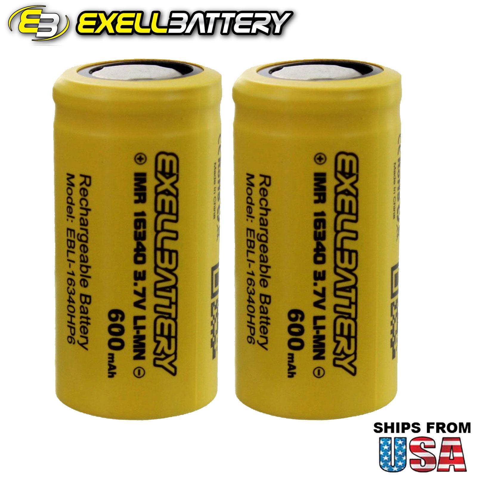 2x IMR 16340 High Drain 600mAh Rechargeable Ecig Vaporizer Batteries