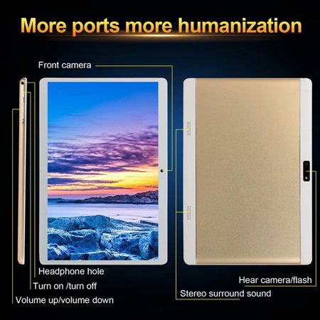 10.1inch 8G+512G WiFi Tablet Android 8.0 HD 1960 x 1080 Bluetooth Game Tablet Computer With Dual Camera Support Dual SIM Card And Dual Standby Rose Gold - image 8 of 9