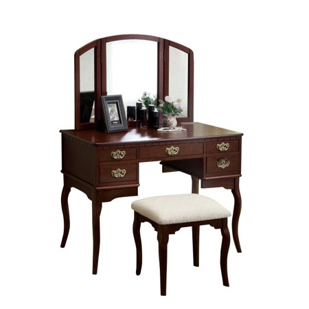 Bowery Hill 3 Sided Mirror Vanity Set in Cherry
