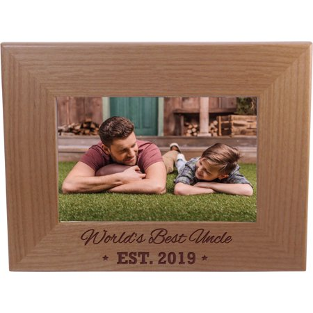 World's Best Uncle EST. 2019 4-inch x 6-Inch Wood Picture
