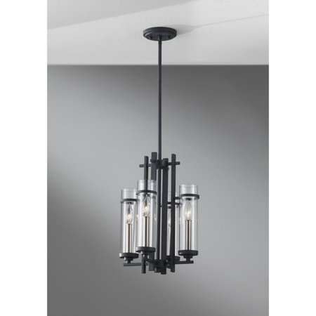 Feiss Ethan F2627 / 4AF / BS Chandelier - 12 diam. in. - Antique Forged Iron / Brushed Steel