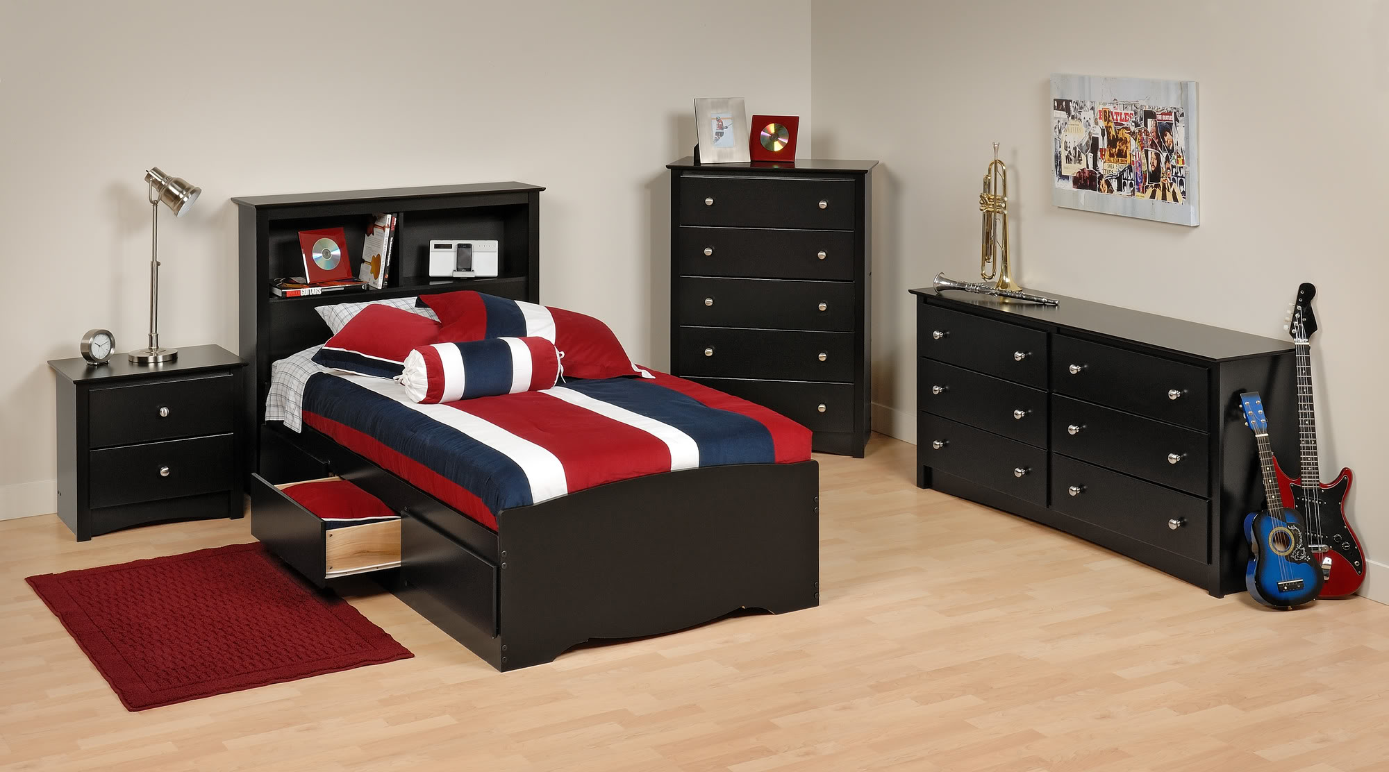 Prepac Sonoma Black Twin Wood Platform Storage Bed 4 Piece Bedroom Set    Walmart.com