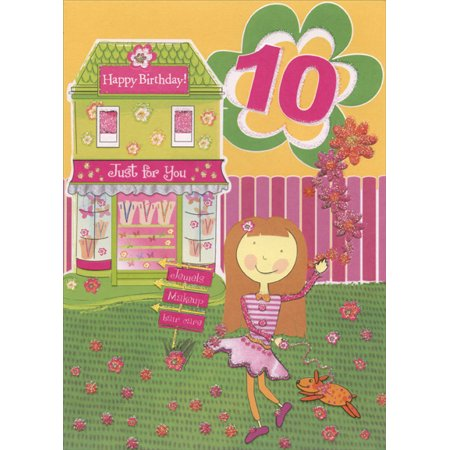 Designer Greetings Girl and Dog in Front of Green Jewelry Store: 10th Birthday Card (Jewelry Cards)