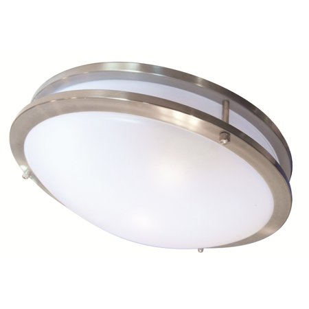 Glass Ceiling Domes - Luxrite 22W 14 in. LED Ceiling Fixture 4000k Chrome Finish Frosted Glass Dome
