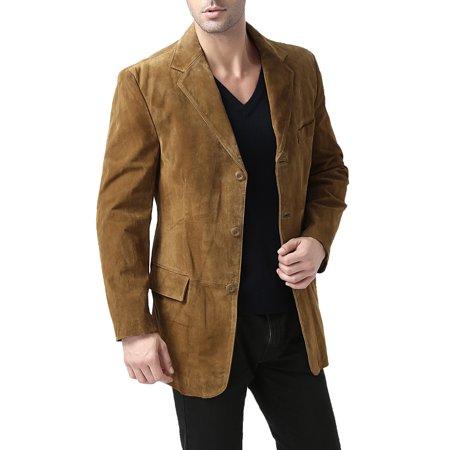 BGSD Men's Robert 3-Button Suede Leather Blazer (Regular & Tall)