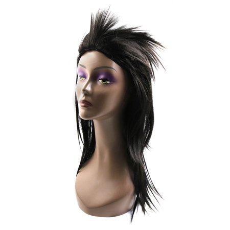 """Black 21.3"""" Long Synthetic Rocking Punks Hairstyle Costume Cosplay Party Wigs w/ Wig Cap - image 4 de 5"""