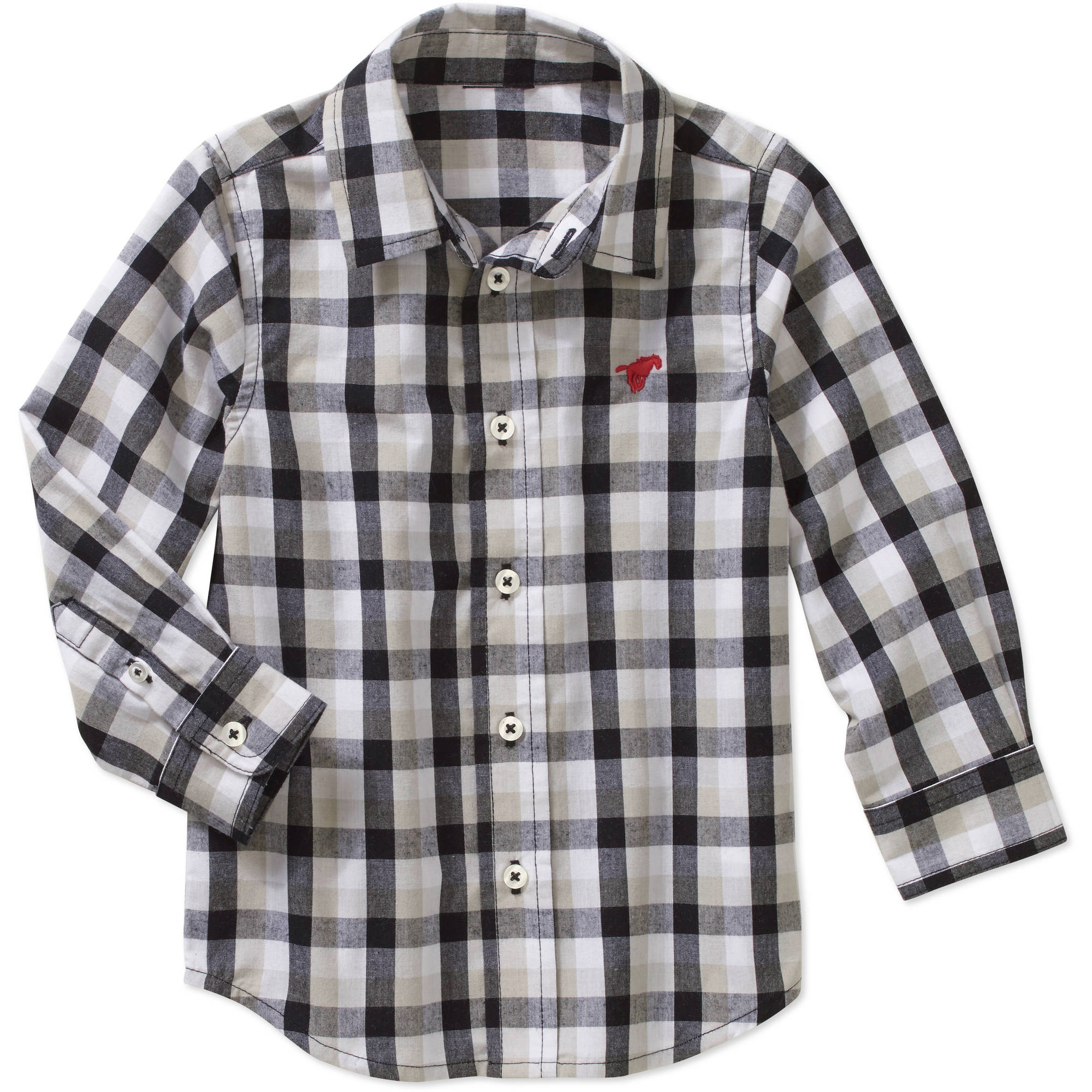 Wrangler Toddler Boys' Long Sleeve Plaid Woven Shirt