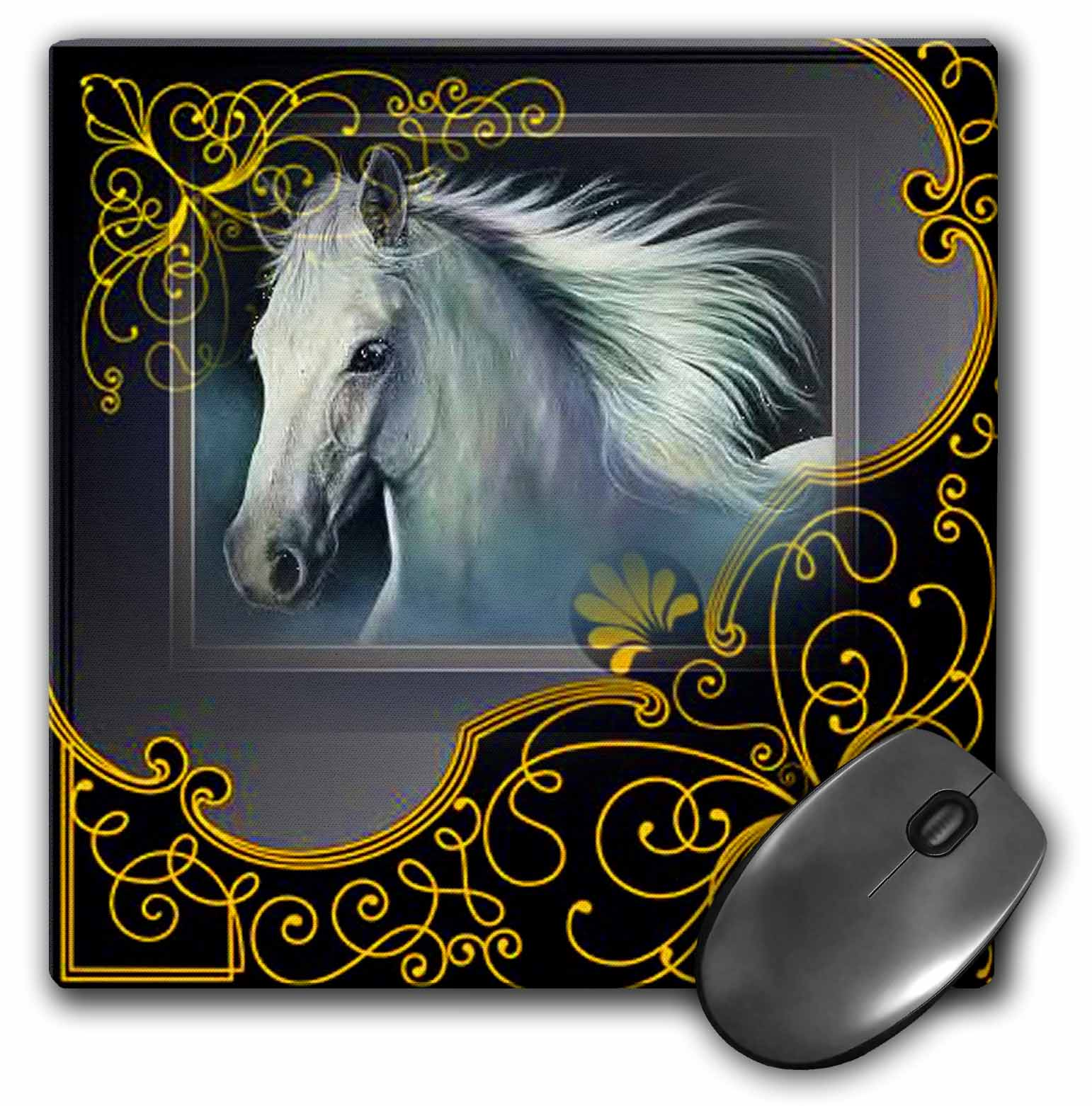 3dRose White Stallion in a beautiful black frame with gold accents, Mouse Pad, 8 by 8 inches