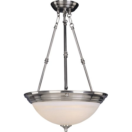 Marble Pressed Glass (Maxim Lighting Essentials - Three Light Invert Bowl Pendant, Satin Nickel Finish - Marble Glass)