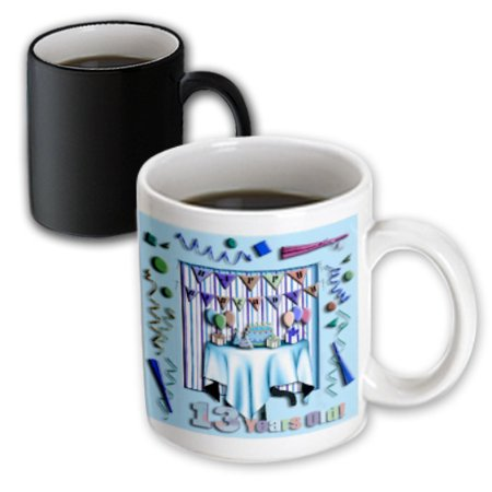 3dRose Birthday Room in Blue Happy Birthday 13 Years Old - Magic Transforming Mug,