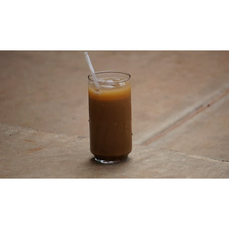 Canvas Print Glass Drink Beverage Coffee Caffeine Ice Coffee Stretched Canvas 10 x 14 ()