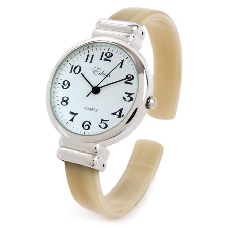 Horn Silver Ivory Acrylic Band Silver Round Face Women's Bangle Cuff Watch ()