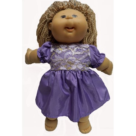 Purple Party Dress With Gold Lace Fits Cabbage Patch Kid Dolls